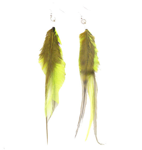 Mia® Feather Earrings - Lime Green - by #MiaKamimnski of Mia Beauty