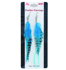 Mia® Feather Earrings - Blue - by #MiaKamimnski of Mia Beauty