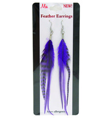 Mia® Feather Earrings - purple color - shown on packaging - by #MiaKamimnski of Mia Beauty