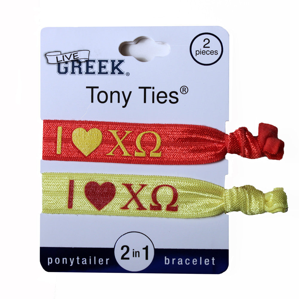 LiveGreek® Tony Ties® - Chi Omega knotted ribbon hair ties for Sororities - designed by #MiaKaminski of Mia Beauty