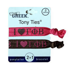 LiveGreek® Tony Ties® - Gamma Phi Beta knotted ribbon hair ties for Sororities - designed by #MiaKaminski of Mia Beauty