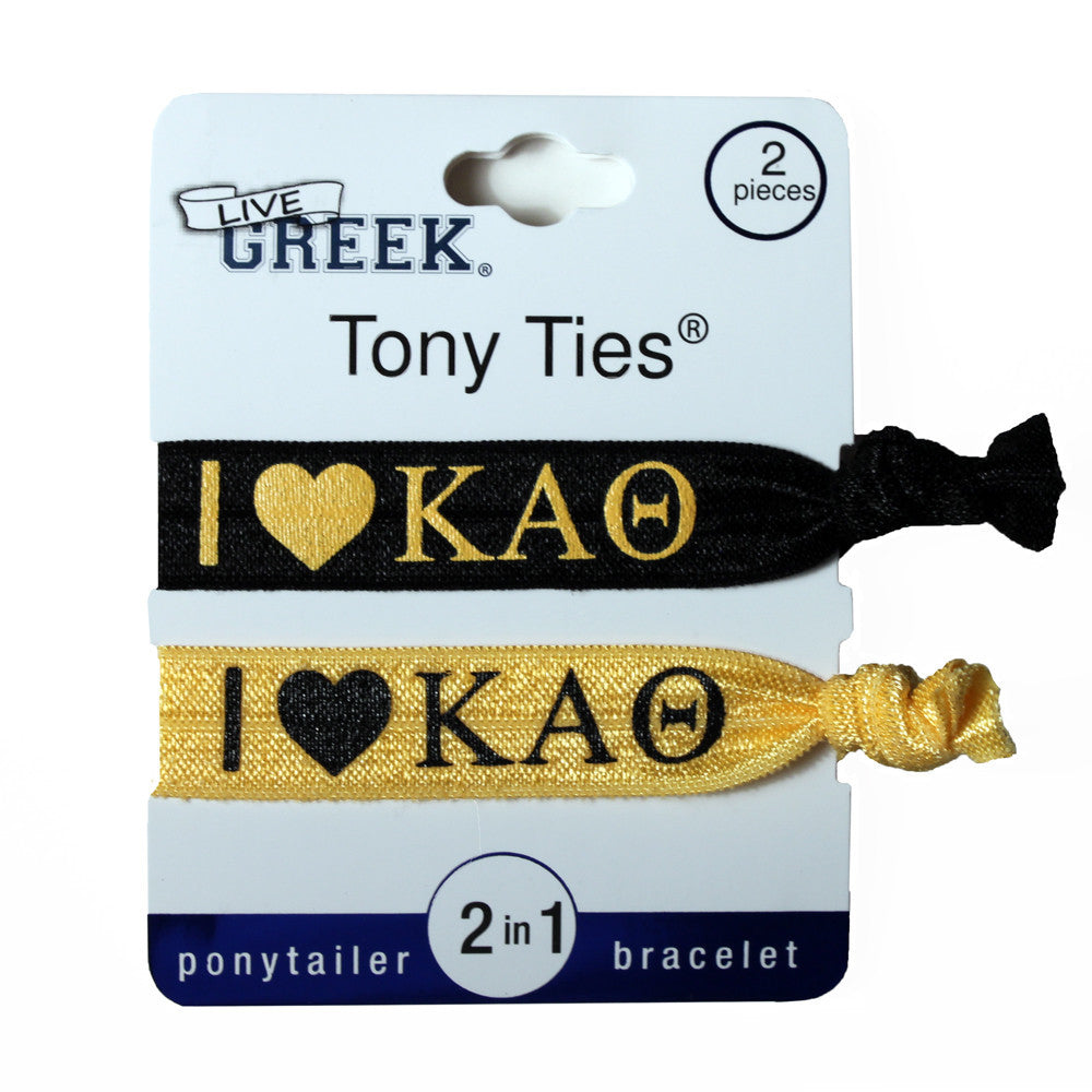 LiveGreek® Tony Ties® - Kappa Alpha Theta knotted ribbon hair ties for Sororities - designed by #MiaKaminski of Mia Beauty
