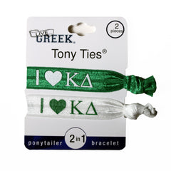 LiveGreek® Tony Ties® - Kappa Delta knotted ribbon hair ties for Sororities - designed by #MiaKaminski of Mia Beauty