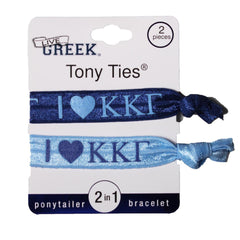 LiveGreek® Tony Ties® - Kappa Kappa Gamma knotted ribbon hair ties for Sororities - designed by #MiaKaminski of Mia Beauty