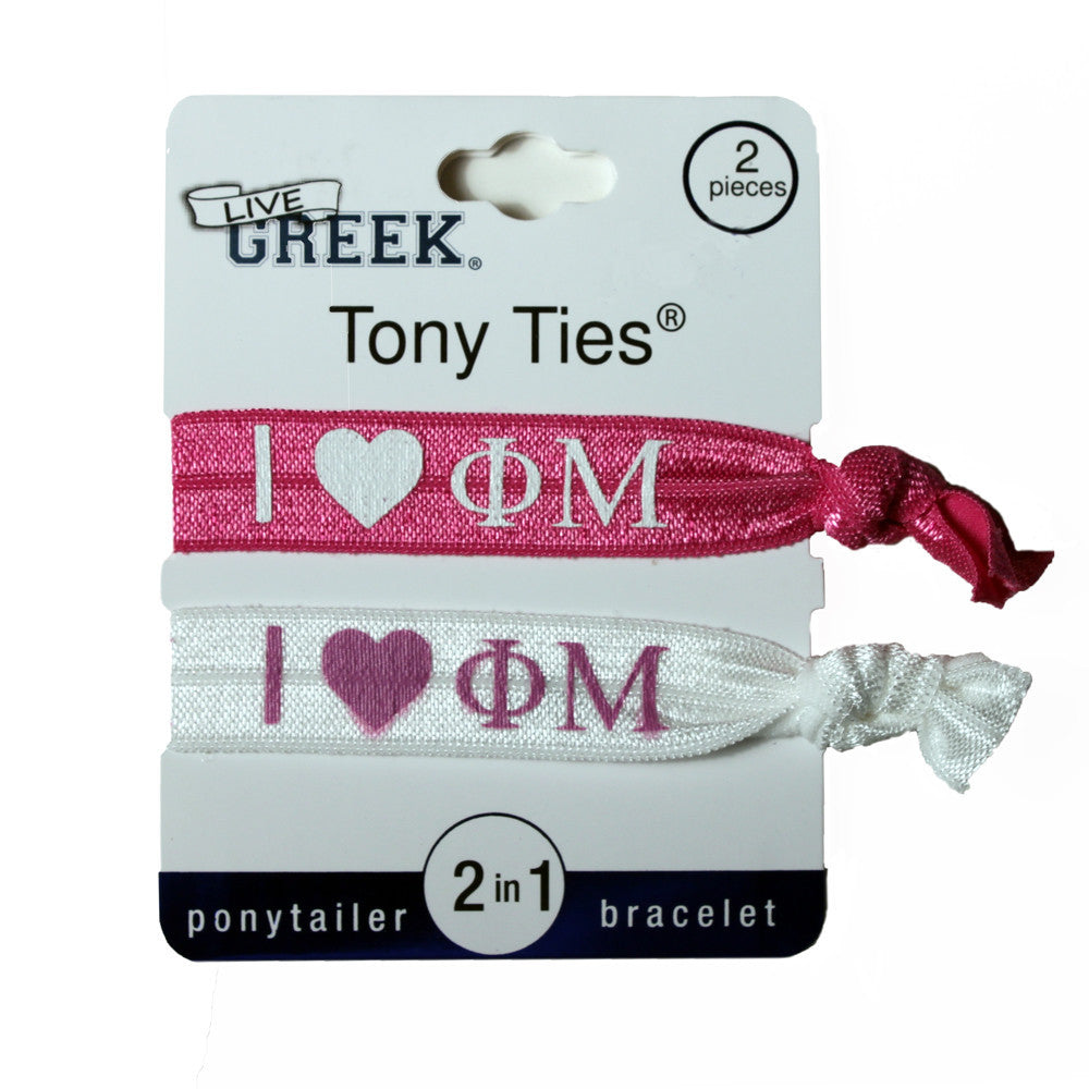 LiveGreek® Tony Ties® - Phi Mu knotted ribbon hair ties for Sororities - designed by #MiaKaminski of Mia Beauty
