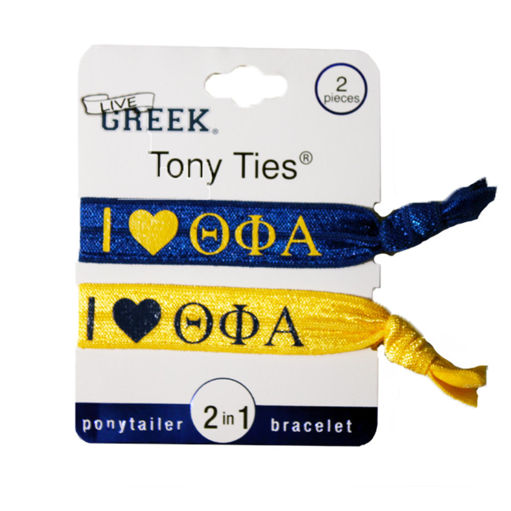 LiveGreek® Tony Ties® - Theta Phi Alpha knotted ribbon hair ties for Sororities - designed by #MiaKaminski of Mia Beauty