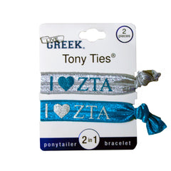 LiveGreek® Tony Ties® - Zeta Tau Alpha knotted ribbon hair ties for Sororities - designed by #MiaKaminski of Mia Beauty