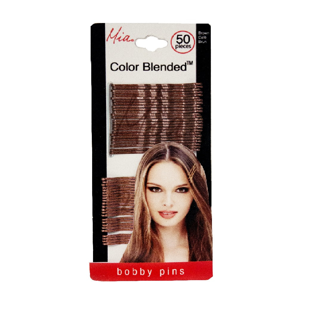 Mia® Color Blended Bobby Pins - medium brown and dark brown color - 50 pieces - designed by #MiaKaminski #Mia #MiaBeauty #Beauty #Hair #HairAccessories #hairstylingtools #frenchtwists #lovethistool #stylingtool #lovethis #love #life #woman #bobbypins