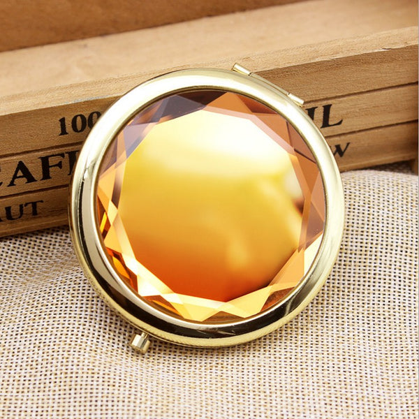 2x/1x Jeweled Compact Mirrors - Gold Metal