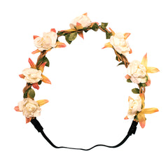 Mia® Flower Halo Headband Hair Accessory - beige roses - by #MiaKaminski #Mia #MiaBeauty #Beauty #Hair #HairAccessories #headbands #lovethis #love #life #woman #flowerhalo #festivals #coachella