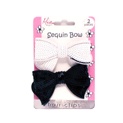 Sequin Bow Hair Clips - Light Pink