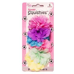 Mia® Girl Squishies™ - terrycloth hair ties with flowers - shown on packaging - assorted pastel colors - designed by #MiaKaminski of Mia Beauty