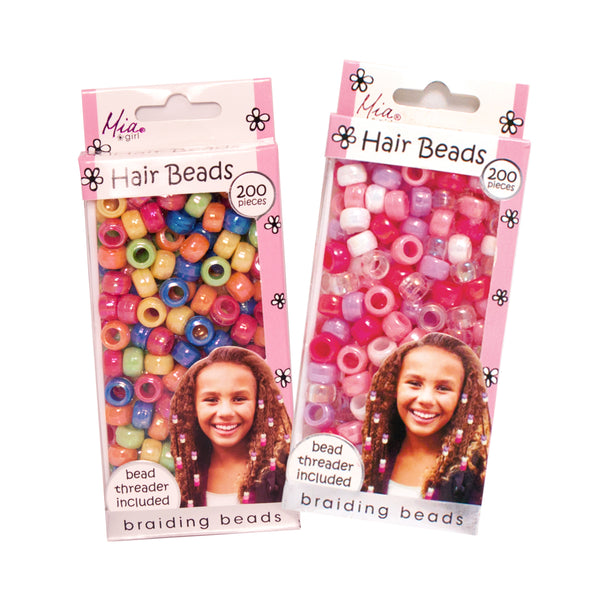 Hair Beads - Assorted Iridescent Rainbow/Pastels (2-pack)