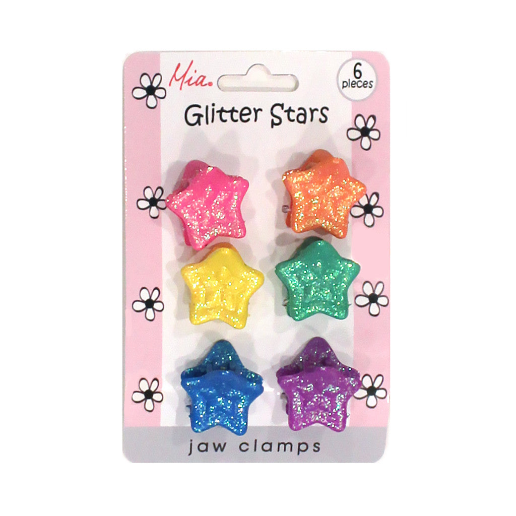 Mia® Girl Jaw Clamps - Rainbow Glitter Stars - 6 pieces on packaging - by #MiaKaminski #Mia #MiaBeauty #Beauty #Hair #HairAccessories #barrettes #hairclips #jawclampsforhair #lovethis #love #life