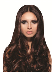 Mia® Clip-n-Hair® commitment free, instant hair, instant volume - medium brown color on model - #MiaKaminski of #MiaBeauty
