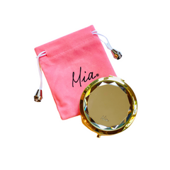 Mia Beauty Jeweled Compact mirror with gold metal and clear glass rhinestone with pink storage pouch