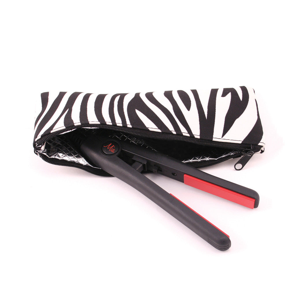 Mia® Mini Pro Travel Straightening Iron - black w/ zebra Cool It pouch invented by #MiaKaminski of #MiaBeauty #Mia #beauty #hair #woman #appliance #straighteningiron #traveliron #lovethistool #love #life #woman
