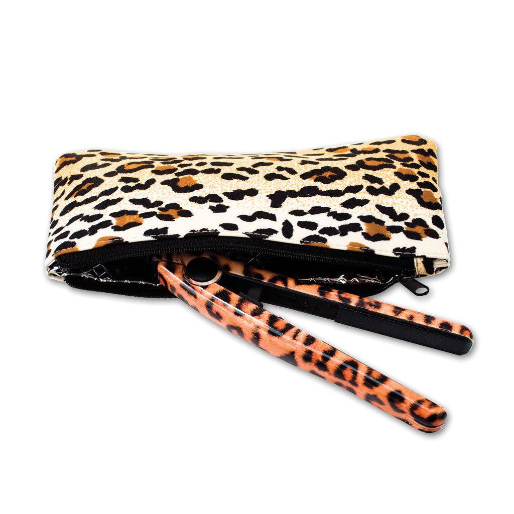 Mia® Mini Pro Travel Straightening Iron - leopard w/ leopard Cool It pouch invented by #MiaKaminski of #MiaBeauty #Mia #beauty #hair #woman #appliance #straighteningiron #traveliron #lovethistool #love #life #woman