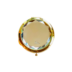 Mia Beauty Jeweled Compact mirror with gold metal and clear glass rhinestone