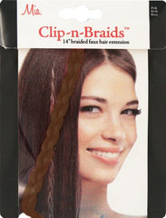 Mia® Clip-n-Braid - medium brown color - shown in packaging - 1 piece - designed by #MiaKaminski of #MiaBeauty