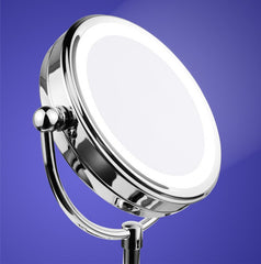 Mia®10x/1x Cordless LED Lighted Vanity Mirror Chrome - shown lit up - by #MiaKaminski #Mia #MiaBeauty #beauty #hair #HairAccessories #lovethis #love #life #woman #mirrors #vanitymirror