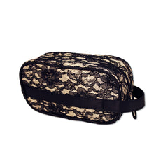 Cosmetic Brush Bag with Handle - Black Lace