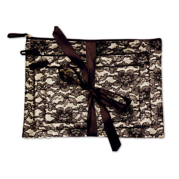 Cosmetic Bags Set - Black Lace