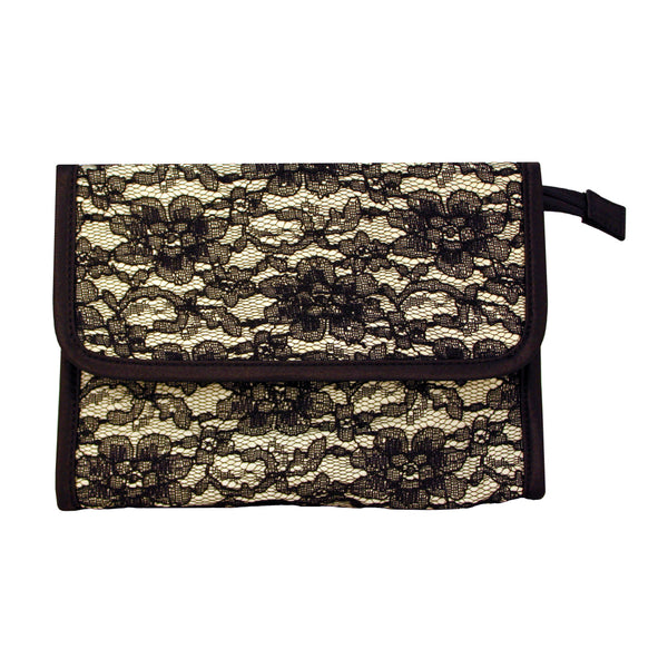 Cosmetic Bag with Mirror - Black Lace