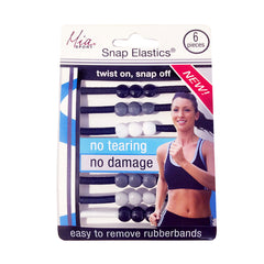 Mia Sport® Snap Elastics® - Black, Grey White
