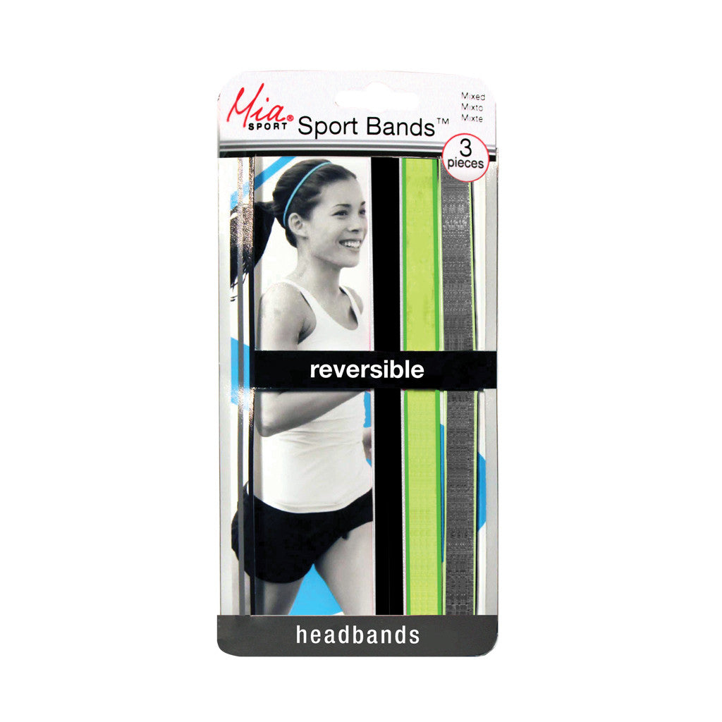 Sport Bands™ Reversible - Black/White, Lime/Green, Charcoal/Lime - Mia Beauty