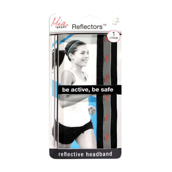 Reflectors™ Headbands - Black Ribbon w/ Reflective Mia Sport™ Logo