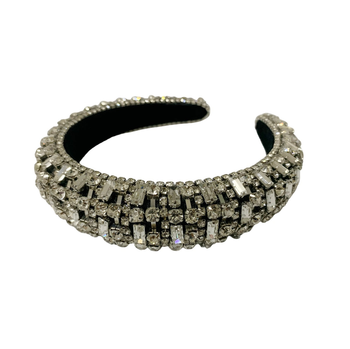 Mia Beauty Royal Elevated Headband in silver metal and clear stones