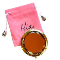 Mia Beauty Jeweled Compact mirror with gold metal and gold glass rhinestone and pink drawstring pouch