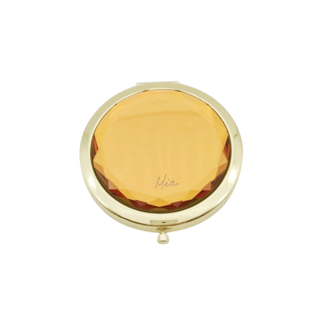 Mia Beauty Jeweled Compact mirror with gold metal and gold glass rhinestone