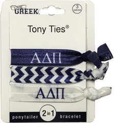 LiveGreek® Tony Ties® - Alpha Delta Pi knotted ribbon hair ties for Sororities - designed by #MiaKaminski of Mia Beauty