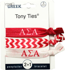 LiveGreek® Tony Ties® - Alpha Epsilon Phi knotted ribbon hair ties for Sororities - designed by #MiaKaminski of Mia Beauty