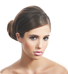 Mia® Bend-a-Bun® - brown color - front of model's head shown- made by Mia® Beauty - invented by #MiaKaminski