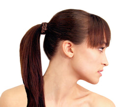 Mia® Braided Tonytail® ponytail wrap made of synthetic wig hair - patented - brown on model - invented by #MiaKaminski CEO of Mia® Beauty