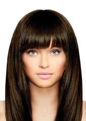 Mia® Clip-n-Bangs® - Dark Brown color - designed by #MiaKaminski of #MiaBeauty - shown on model