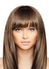 Mia® Clip-n-Bangs® - Light Brown color - designed by #MiaKaminski of #MiaBeauty - shown on model