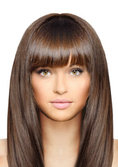 Mia® Clip-n-Bangs® - Medium Brown color - designed by #MiaKaminski of #MiaBeauty - shown on model
