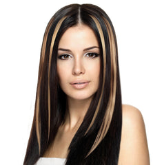 Mia® Clip-n-Color®, Clip On Hair Extension – synthetic wig hair  - dark brown color - shown in model's hair - designed by #MiaKaminski of #MiaBeauty #Mia #Beauty #HairAccessories #SyntheticWigHair #extensions
