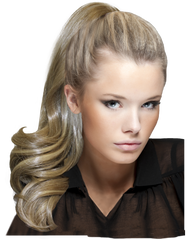 Mia® Clip-n-Pony instant ponytail - blonde color on model - by #MiaKaminski of #MiaBeauty