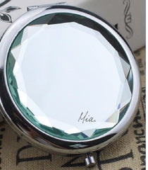 Mia® Jeweled Compact Mirror - clear white color rhinestone - invented by #MiaKaminski #MiaBeauty #Mia #beauty #Mirrors #CompactMirror #TravelMirror #purseMirror #Pretty #love #mothersday #lovethis #love #life #woman