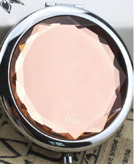 Mia® Jeweled Compact Mirror - peach color rhinestone - invented by #MiaKaminski #MiaBeauty #Mia #beauty #Mirrors