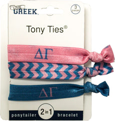 LiveGreek® Tony Ties® - Delta Gamma knotted ribbon hair ties for Sororities - designed by #MiaKaminski of Mia Beauty