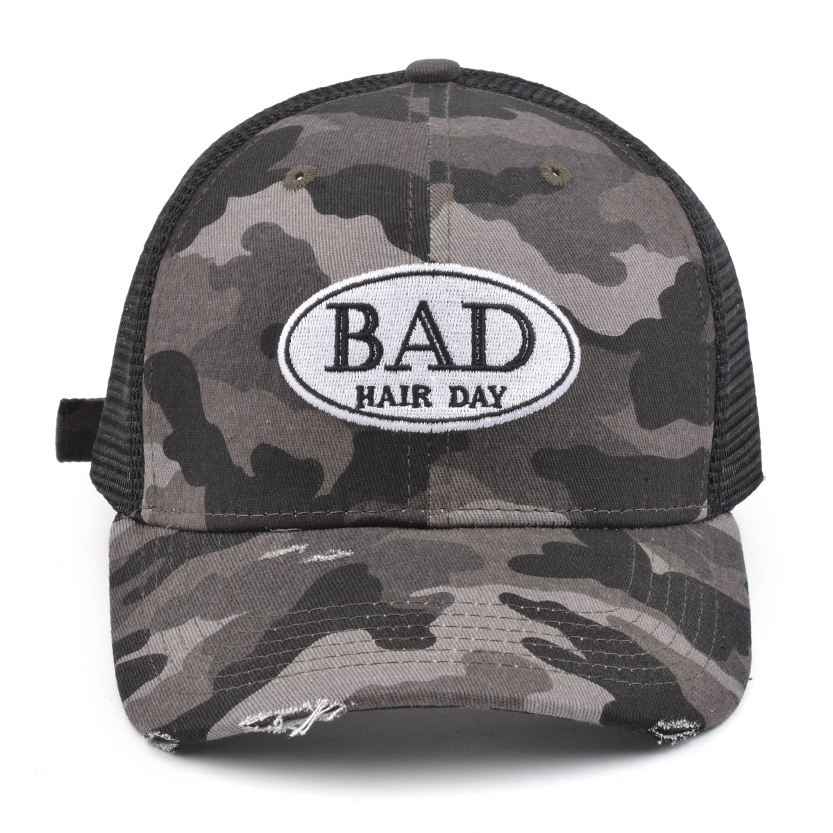 "Mia Beauty ""Bad Hair Day"" distressed camouflage trucker hat baseball cap with ponytail slot"