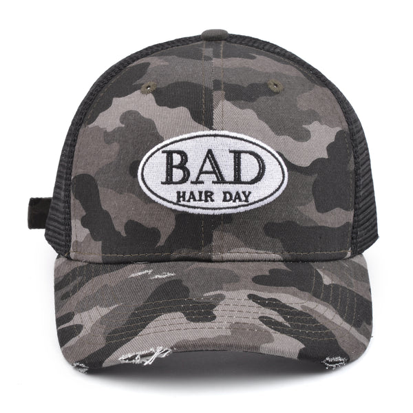 """Bad Hair Day"" Trucker Hat - Gray Camouflage"