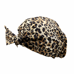 Mia Beauty Shower Cap with Tie leopard print