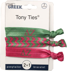 LiveGreek® Tony Ties® - Delta Zeta knotted ribbon hair ties for Sororities - designed by #MiaKaminski of Mia Beauty